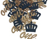 Royal Prince first birthday, one confetti, crowns, blue and gold, navy, cursive ones, babys 1st, 1 party decorations, baby, 50CT