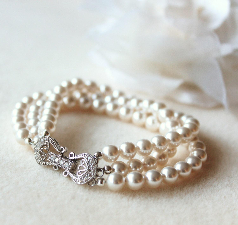 Bridal Pearl Bracelet Pearl Wedding Jewelry For Brides Three Strand Swarovski Pearl Bracelet Wedding Bracelet Bridal Jewelry Bridesmaid Gift
