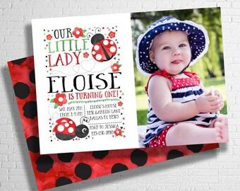 Lady bug invitation| Ladybug invite| Our little lady birthday invitation | Polkadot invitation| red & black theme |  DIGITAL FILE ONLY