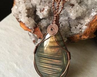 Labradorite Copper Wire Wrapped Pendant Necklace