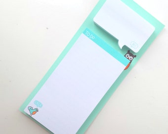 "Magnetic ""To Do"" memo pad & sticky notes, mint with cute owls"