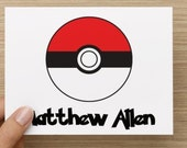 Thank you cards: Personally designed card, Pokemon inspired.  Multiple pack sizes available