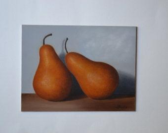 Acrylic 6x8' small still life peainting, bosc pear painting, fruit painting, kitchen painting, food painting, pears art, miniature, artwork