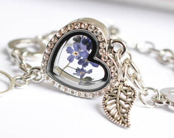 Real flower bracelet. real forget me not. Jewelry Woman Real Dried Flowers, sterling bracelet. Valentine's Day