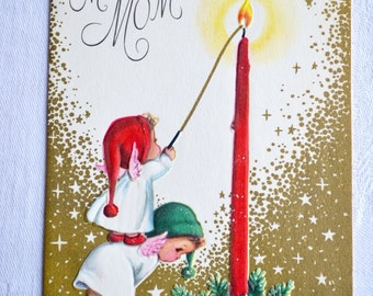 RESERVED Vintage Christmas Card - To Mom Angels and Candle - Used Marjorie Cooper