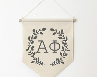Alpha Phi Wreath Wall Banner, ΑΦ, Sorority Wall Hanging, Sorority Gift, Greek Letters, Pennant, Wall Flag, Dorm Decor