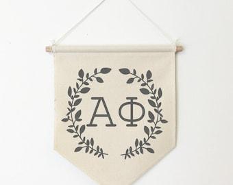 Alpha Phi Wreath Wall Banner, ΑΦ, Sorority Wall Hanging, Sorority Gift, Greek Letters, Pennant, Wall Flag, Dorm Decor