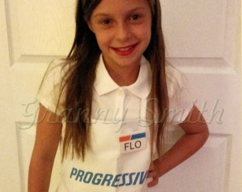 Children's Flo Progressive Insurance Apron, Name Badge + pin  WITH REAL or ATTACHED pins. Dress up costume. Imaginative play. Halloween