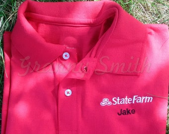 Jake State Farm Halloween Costume Embroidered Red Shirt (18 sizes). FREE SHIPPING first class in US. Cosplay. Comicon. Just add Khakis!