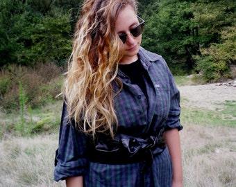 Vintage Shirt / Boyfriend's Grunge Cotton / TARTAN Shirt / Flanel Shirt / Hipster Blouse / Gypsy Blouse / Boho Blouse / Festival shirt / 90s