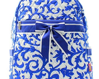 Damask Print Quilted Monogrammed Backpack Royal Blue and White