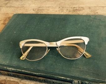 Eye Aluminum Glasses CAT EYE Eyeglasses Blinged Glasses Optical jeweled Frames Womens Ladies 1940s silver filigree