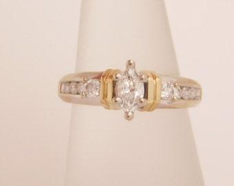 0.75 C.T.W. Ladies Marquise & Round Cut Diamond Engagement Ring 14K