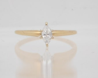 0.25 Carat Marquise Cut Diamond Solitaire Engagement Ring 14K Yellow Gold