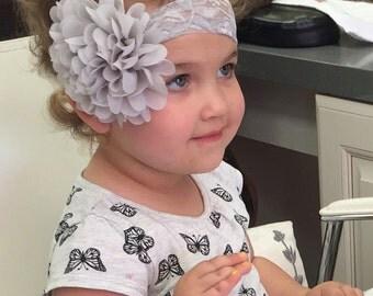 Gray lace headband, Silver lace headband for baby, Newborn lace headband, Gray lace headband for Girls, Lace stretch headband for Girls
