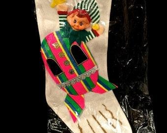 Vintage Space ELF PIXIE Stocking, Astronaut Shiny Brite, Retro  Elf, 3D Elf Head, Christmas Stocking, NOS, Japan , Circa 1960s