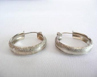 Vintage 10k White Gold Hoop Earrings