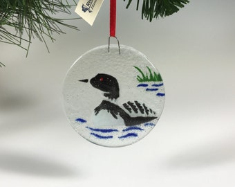 Loon Ornament Fused Glass Loon