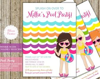 Pool Party Invitation Rainbow Waves Girl Pool Party Invite Swim Birthday Party Digital Printable
