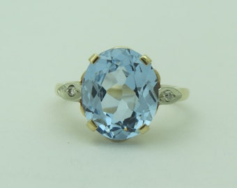 Vintage Blue Topaz and Diamond Statement Ring 10K Gold Ring