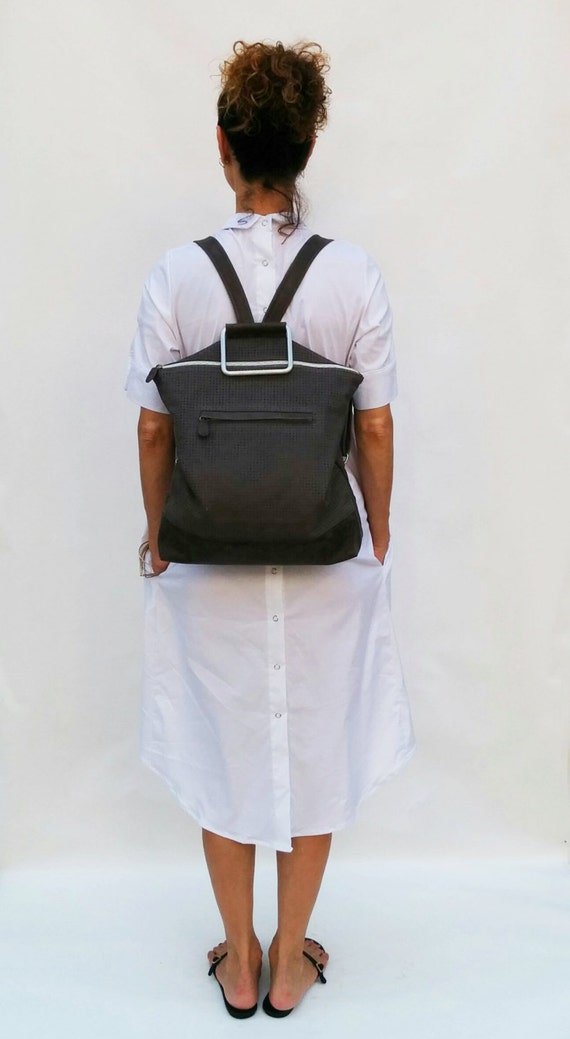 Grey Leather Backpack / Leather Like Tote Bag / Oversize Purse / Unisex Laptop Bag / School Bag / Handbag / Shoulder Bag - Nobo