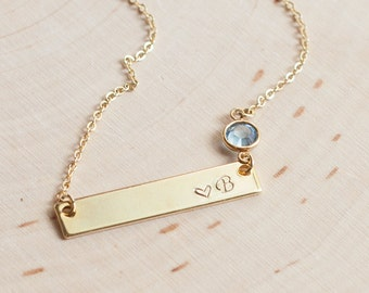 Bar personalized birthstone necklace nameplate personalized jewelry custom order unbiological sister jewelry rose gold silver bridal /4