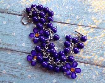 Purple Glass Bracelet, Lampwork Bracelet, Flower Bracelet,Beaded Bracelet, Beadwork Bracelet, Gift For Her