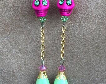 La Calavera Rosa Sugar Skull Earrings All Hallows' Eve Day of the Dead