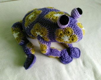 Handmade, crochet toys Frog, African Flower, Amigurumi