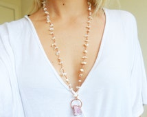 Pink Aura Druzy Crystal Quartz Necklace Pendant with Mother of Pearl Seashell Hand Wrapped Rosary Beaded Chain in Pure Copper