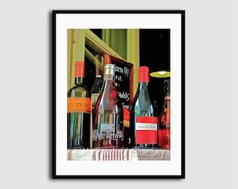 Printable Color Photo, Instant Download, 300 dpi JPG, Spain, Wine Bottles, Dramatic Angle, Spanish Wine, Window, Closeup