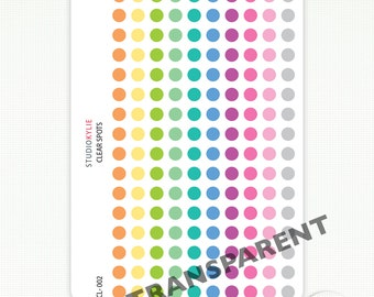 Clear Dots Planner Stickers - 160 Transparent Date Dots -