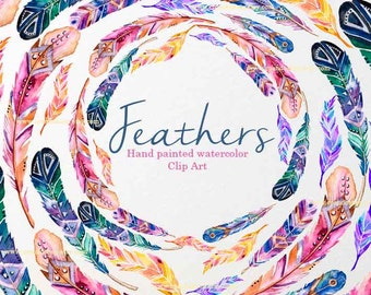 Tribal Feathers Clipart, Bird Feather Clip Art, Cardmaking, GraphicFeathers, Watercolor Feathers Clipart, Watercolor clipart bohemian