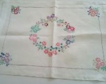 Vintage Hand Embroidered Linen Tray Cloth