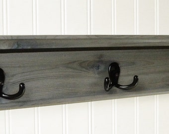"24"" Modern Rustic Wood Coat Rack Wall Shelf Rustic Gray"