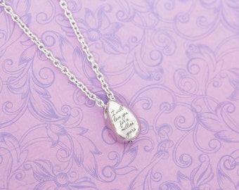 Silver Stainless Teardrop Memorial Pendant - Cremation Jewelry - Engraved Jewelry - Urn Necklace - Pet Memorial - Ash Necklace