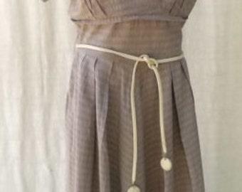 "1950s Short Sleeve Casual Cotton Dress  Bust 32"""