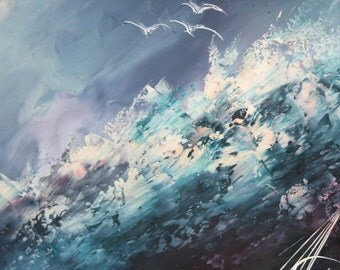 Vintage Impressionist Seascape Gouache Painting Signed