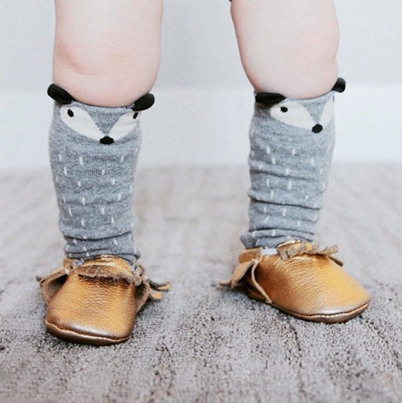 Cute Baby Grey Fox Knee Cotton Sock Stocking Colorful by