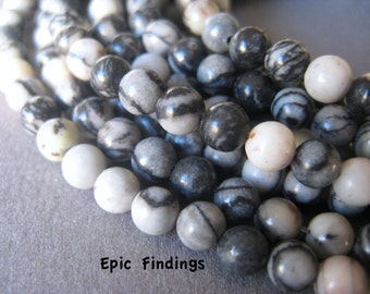SALE!! 4mm Black Silk Stone Round Smooth Gemstone Beads, Black & White Gemstone Beads, Jewelry Craft Supply, Epic Findings