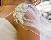 November dispatch!!!!.vintage style diamante tulle cape veil, diamante chain, diamante appliques, bridal cape, wedding, veil style cape.