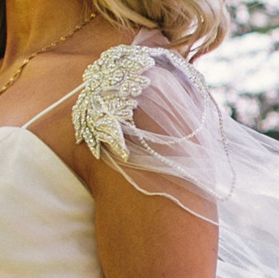 Bridal Cape Veil Wedding Diamante Tulle