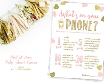 Pink and Gold Baby Shower Game . What's on Your Phone . DIY Printable . Instant Download . Baby Girl . Glitter Hearts Confetti
