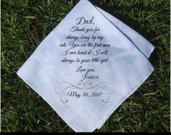 Father of the Bride Gift Father of the bride handkerchief father of the Groom gift Wedding Handkerchief PRINTED handkerchief ...(H 111)