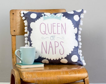 Queen Of Naps Large Cushion with Applique and PomPoms