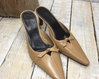 Size 6 - Cole Haan Shoes - Tan Heels Size 6 B, Tan Brown Leather Designer Pumps size 6, Strapless Heels 6, Tan Pointed Toe, Size 6 Cole Haan