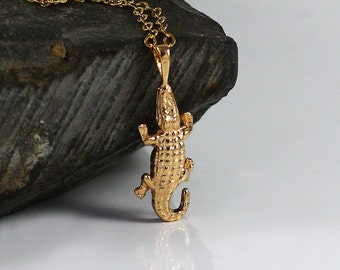 Alligator Charm Necklace, Gold Alligator Necklace,  Crocodile Gold Plated pendant , 14K gold filled chain, Animal Themed Jewelry
