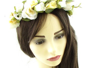 Ivory Cream Rose Flower Hair Crown Headband Garland Festival Leaf Bridesmaid 701