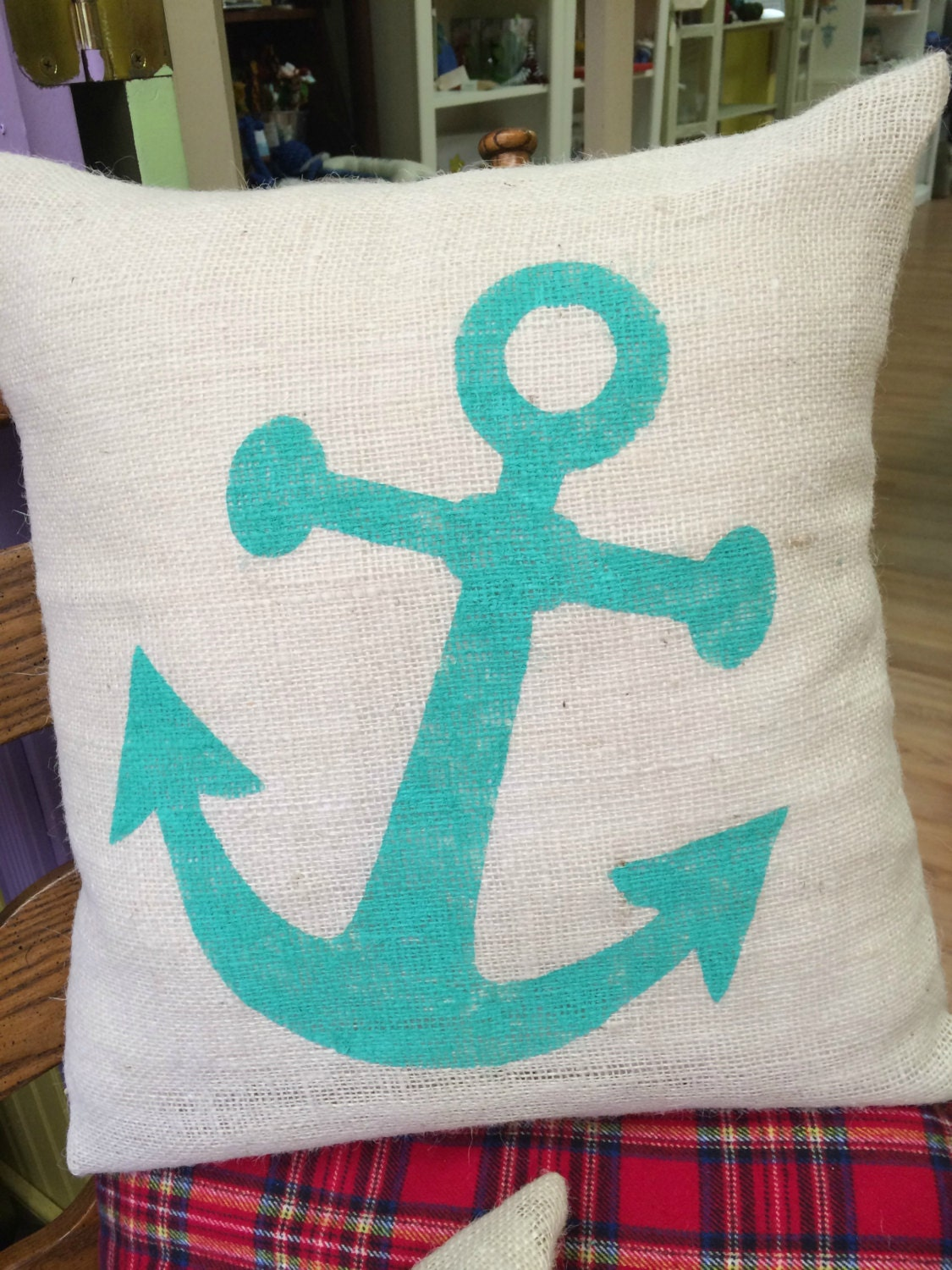 Small Beach Throw Pillows : Anchor PillowNautical PillowBeach House by ToadHollowNJ on Etsy