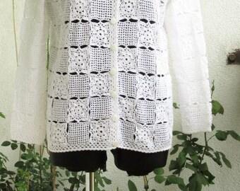 Crochet Sweater Crocheted Sweater Handmade Sweater Plus Size Crochet Sweater White Sweater